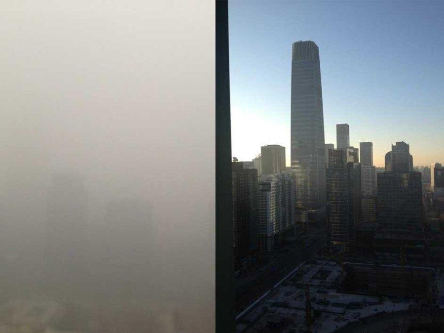 Pekin de bina, bugün (sol) ve 6 hafta önce (sağ) (Kaynak Sinocism)
