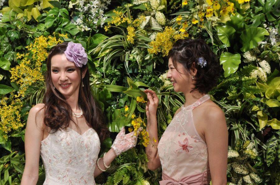 Bahçe ortamı hazırlanmış, iki model hanım poz veriyorlar (Fotoğraf: Erol Emed)