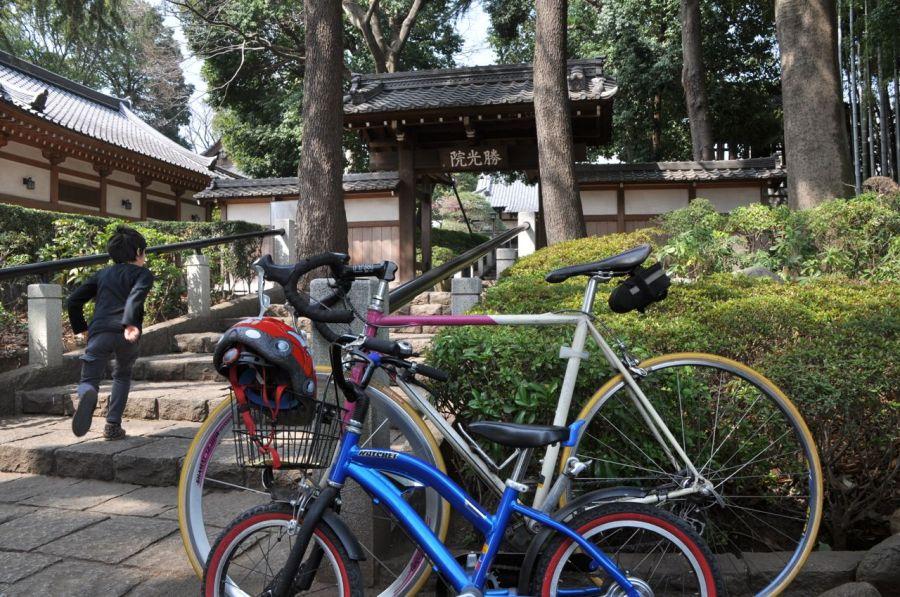 Tapınağın girişine bisikletler parkediliyor.