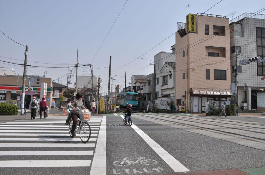 Tren durdu arabalara kırmızı, yayalara yeşil yanmasını bekledi. Bizimle beraber caddeyi geçti.