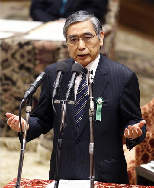 Müstakbel BoJ Başkanı Haruhiko Kuroda parlamentoda konuşurken (Fotoğraf webden ekran sureti olarak alınmıştır)