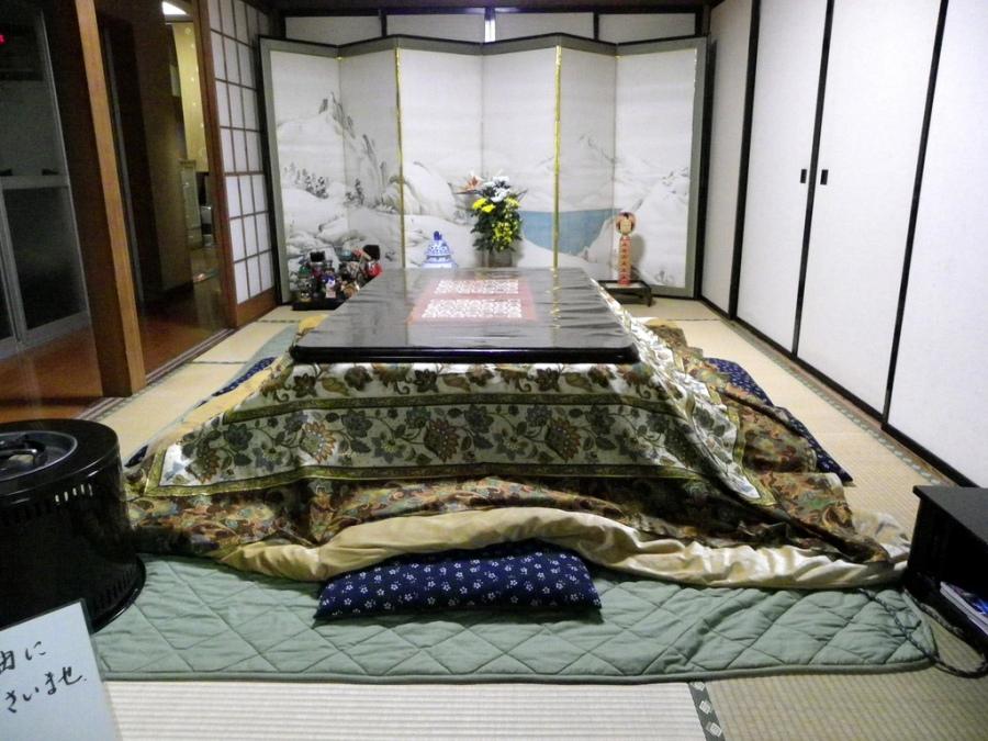 Tipik bir kotatsu (foto:Rosario), yorganla kaplanmış
