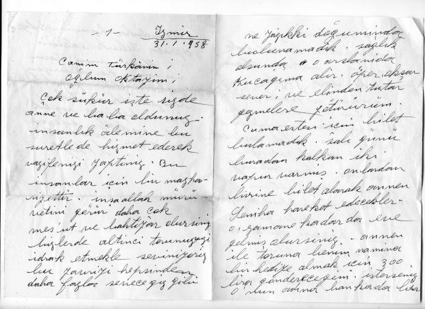 Anneannem ve dedemden gelen tebrik mektubu