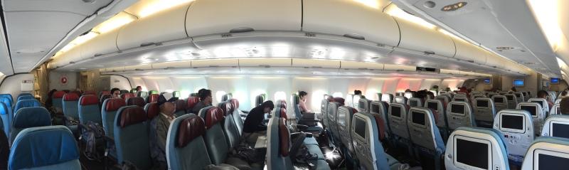 Uçak kabini bomboş, business class dahil toplam 75 kişi ile geldik
