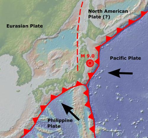 Japonya'yı çevreleyen fay hatları (Kaynak: geomapapp.org ve Scientific American)