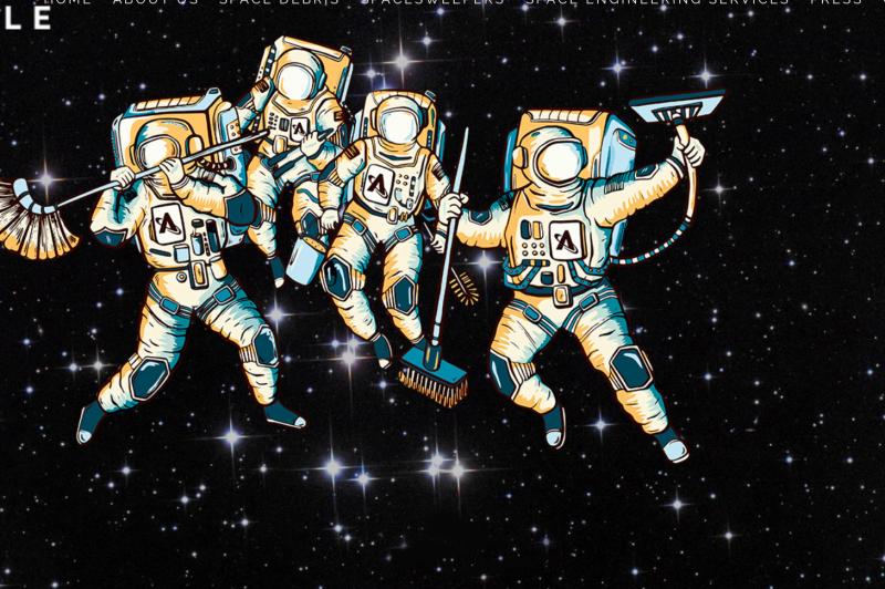 Uzayı temizleyen elektrik süpürgeli astronotlar (kaynak Astro Scale HP)