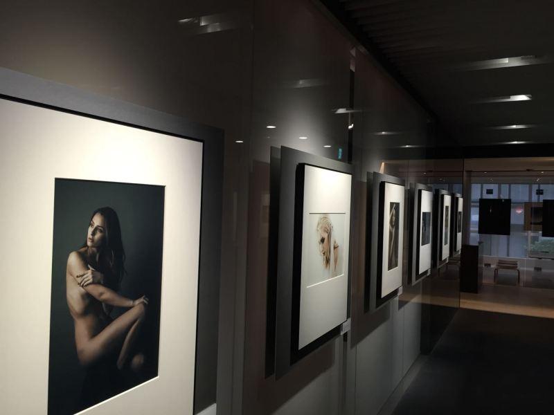 Galeriye birbirinde güzel fotoğrafların duvarlara asıldığı siyah beyaz bir koridordan geçiliyordu.